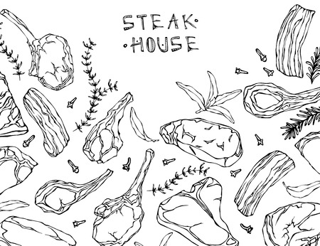 Frame with Meat Products. Restaurant Menu or Butcher Shop Template. Beef Steak, Lamb, Pork Rib. Vector Illustration Isolated On a White Background. Realistic Hand Drawn Doodle Style Sketch.