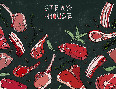 veal sausage: Frame with Meat Products. Restaurant Menu or Butcher Shop Template. Beef Steak, Lamb, Pork Rib. Vector Illustration Isolated on a Black Chalkboard Background. Realistic Hand Drawn Doodle Style Sketch. Illustration