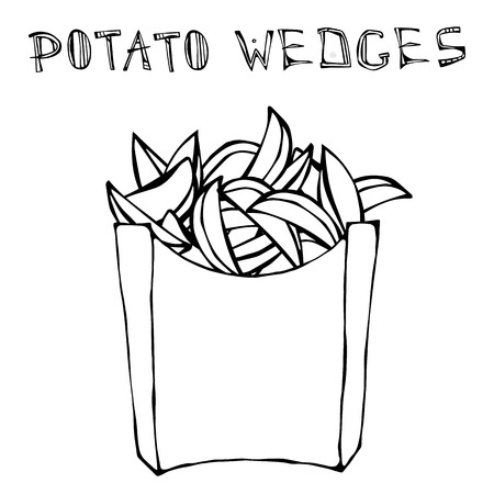 fried: Potato Wedges in Paper Box. Fried Potato Fast Food in a Package. Realistic Hand Drawn Doodle Style Sketch.Vector Illustration Isolated on a Black Chalkboard Background.