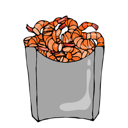 junkfood: Cooked Shrimps in Paper Box. Sea Fast Food in Package. Vector Illustration Isolated On a White Background. Realistic Hand Drawn Doodle Style Sketch.