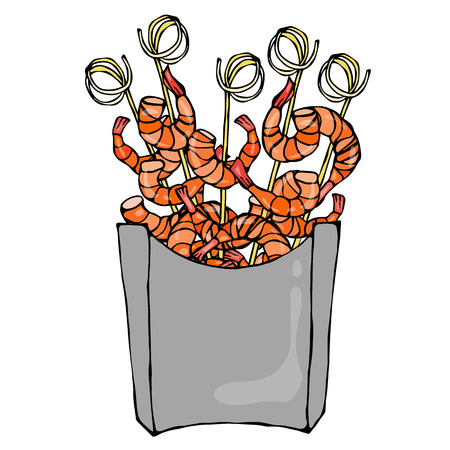 chinese food container: Shrimp on Wood Stick, Prawn Kebab, Seafood BBQ, Canapes in Paper Box. Sea Fast Food in Package. Vector Illustration Isolated On a White Background. Realistic Hand Drawn Doodle Style Sketch. Illustration