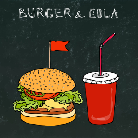 Big Burger, Hamburger or Chisburger and Soft Drink Soda or Cola. Fast food takeout icon. Takeaway food sign. Realistic Hand Drawn Doodle.Vector Illustration Isolated on a Black Chalkboard Background. Illustration