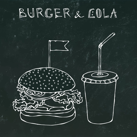 calorie: Big Burger, Hamburger or Chisburger and Soft Drink Soda or Cola. Fast food takeout icon. Takeaway food sign. Realistic Hand Drawn Doodle.Vector Illustration Isolated on a Black Chalkboard Background. Illustration