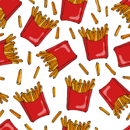 fried: Crispy french fries seamless pattern with red paper boxes of fried potato. Vector Illustration Isolated On a White Background. Realistic Hand Drawn Doodle Style Sketch. Illustration