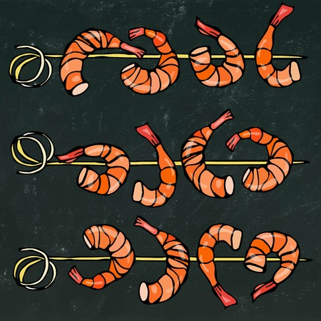 Shrimp on Wood Stick, Prawn Kebab, Seafood BBQ, Canapes. Isolated On a Chalkboard Background Doodle Cartoon Vintage Hand Drawn Sketch