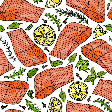 Vector Seamless Pattern of Salmon Fillet, Lemon, Herbs Rosemary, Marjoram, Parsley, Rocket Salad, Clove. Seafood Restaurant Menu Healthy Food Savoyar Doodle Style