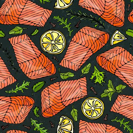 Vector Seamless Pattern of Salmon Fillet, Lemon, Herbs Rosemary, Marjoram, Parsley, Rocket Salad, Clove on Black Board Background. Seafood Restaurant Menu. Healthy Food. Savoyar Doodle Style. Illustration
