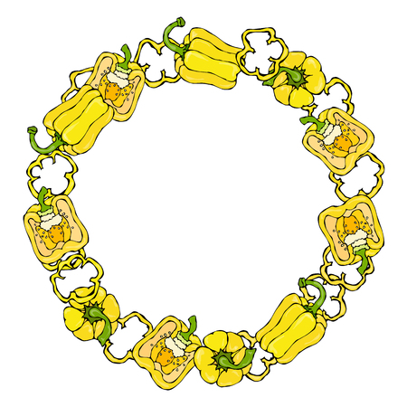 Yellow Bell Pepper Wreath. Half of Sweet Paprika and Rings of Pepper Cuts. Illustration