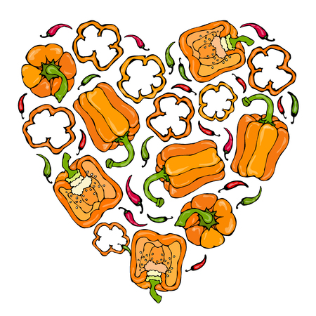 Orange Bell Peper Heart Shape Wreath. Half of Sweet Paprika and Rings of Pepper Cuts. Fresh Ripe Raw Vegetables Garland. Healthy Vegan Cuisine. Vector Illustration Hand Draw. Savoyar Doodle Style.