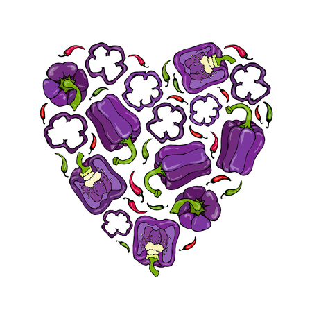 Purple on Violet Bell Peper Heart Shape Wreath. Half of Sweet Paprika and Rings of Pepper Cuts. Fresh Ripe Raw Vegetables Garland. Healthy Cuisine. Vector Illustration Hand Draw. Savoyar Doodle Style. Illustration