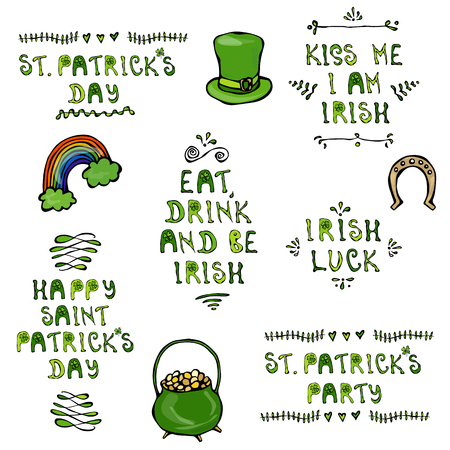 Set of St. Patricks Day Lettering. With Hat, Horseshoe, Pot and Rainbow. Vector Illustration Hand Drawn. Savoyar Doodle Style