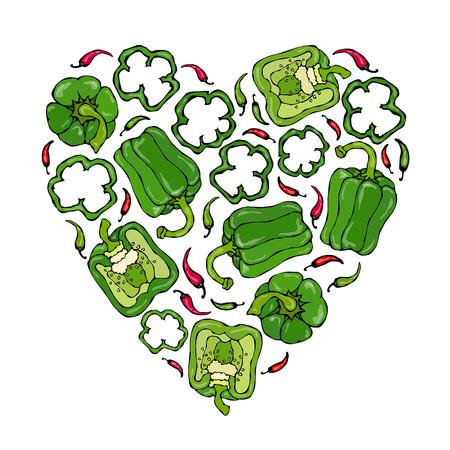 Heart of Green Bell Peppers. Healthy Vegan Cuisine.