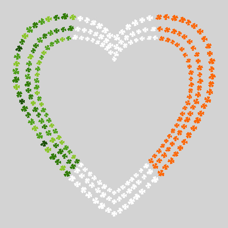 Heart Shaped Clover Leaves Frame Colored in Ireland National Flag Colours Green, White, Orange. On a Grey Background. St Patricks Day Vector Illustration Hand Drawn. Savoyar Doodle Style Illustration