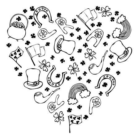 Collection of Irish symbols. Heart shape background. Leprechauns Hat, Horseshoe, Pot of gold, Flag, Beer Mug, Rainbow, Clover. St Patrick Day Savoyar Doodle Style