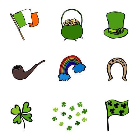 Collection of Irish symbols. Leprechauns Hat, Horseshoe, Pot of gold, Flag, Beer Mug, Rainbow, Clover. St. Patrick Day Savoyar Doodle Style