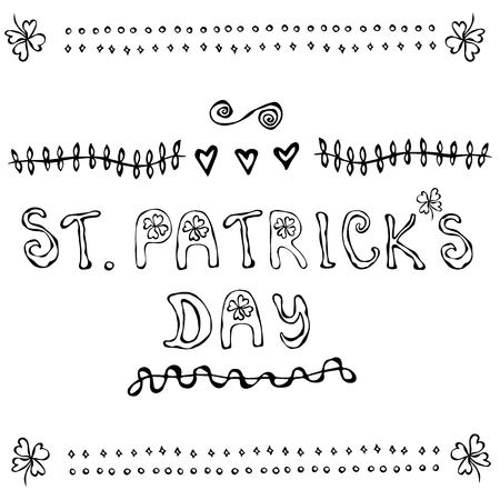 'Saint Patrick's Day'. Hand drawn St. Patrick's Day lettering outline typography for postcard, card, flyer, banner template. Typographic design for St. Patrick Day. Savoyar Doodle Style Stok Fotoğraf