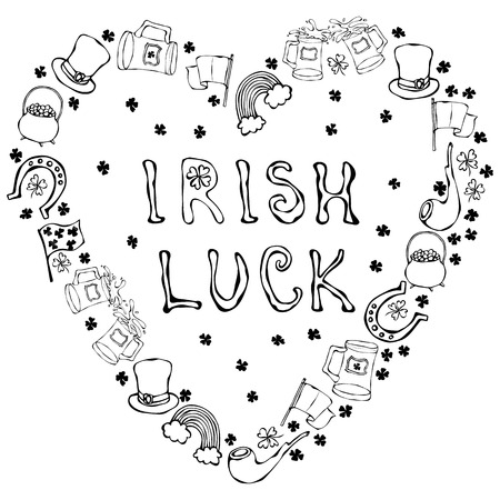 Collection of Irish symbols. Irish Luck Lettering. Heart Shape Background. Leprechauns Hat, Horseshoe, Pot of gold, Flag, Beer Mug, Rainbow, Clover. St. Patrick Day Savoyar Doodle Style
