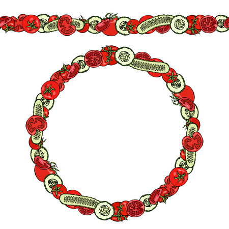Endless Pattern Brush, Round Garland with Green Cucumber and Tomato Slices with Seeds.