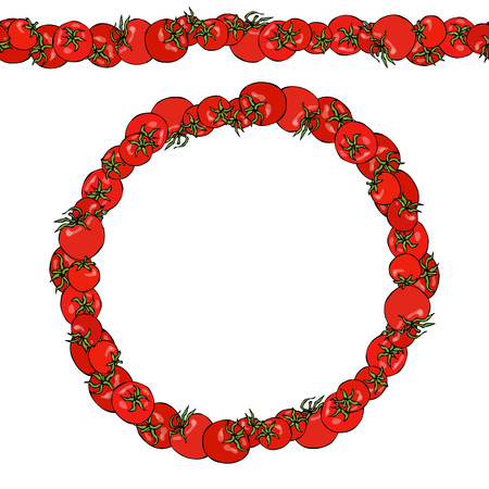 Red Tomatoes. Endless Pattern Brush, Round Garland.
