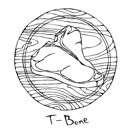 Das meiste populäre Steak-Knochen auf einem runden hölzernen Schneidebrett. Rindfleisch geschnitten. Fleischführer für Metzgerei oder Steak House Restaurant Menu. Hand gezeichnete Illustration. Savoyer Gekritzelart