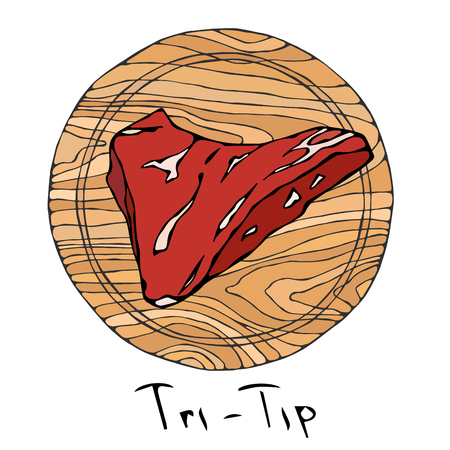 Most Popular Steak Tri-Tip on a Round Wooden Cutting Board. Beef Cut. Meat Guide for Butcher Shop or Steak House Restaurant Menu. Hand Drawn Illustration. Savoyar Doodle Style