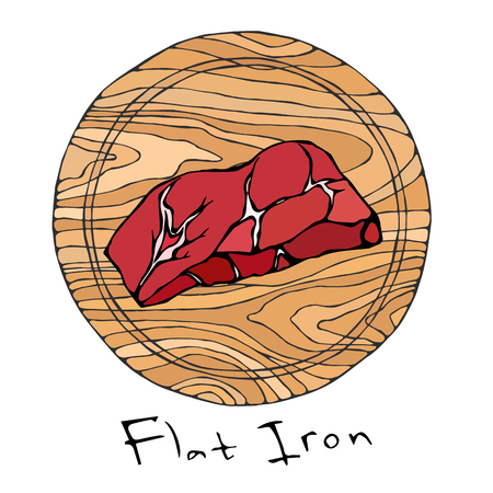 Most Popular Steak Flat Iron on a Round Wooden Cutting Board. Beef Cut. Meat Guide for Butcher Shop or Steak House Restaurant Menu. Hand Drawn Illustration. Savoyar Doodle Style Illustration
