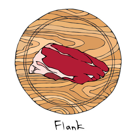 Most Popular Steak Flank on a Round Wooden Cutting Board. Beef Cut. Meat Guide for Butcher Shop or Steak House Restaurant Menu. Hand Drawn Illustration. Savoyar Doodle Style Illustration