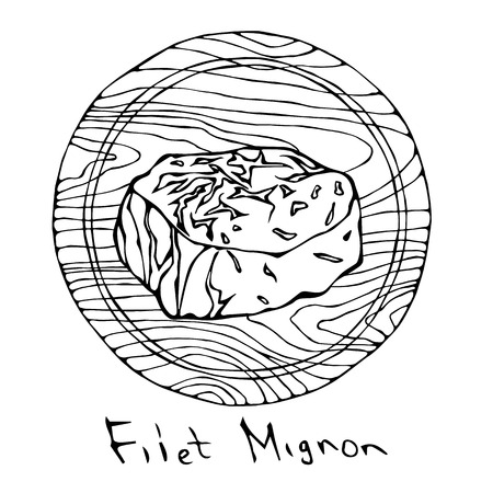 Most Popular Steak Filet Mignon on a Round Wooden Cutting Board. Beef Cut. Meat Guide for Butcher Shop or Steak House Restaurant Menu. Hand Drawn Illustration. Savoyar Doodle Style
