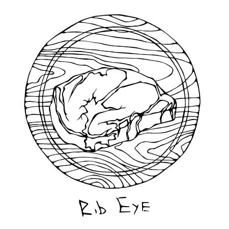Most Popular Steak Rib Eye on a Round Wooden Cutting Board. Beef Cut. Meat Guide for Butcher Shop or Steak House Restaurant Menu. Hand Drawn Illustration. Savoyar Doodle Style