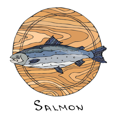 Whole Raw Salmon Fish on Round Cutting Board. For Cooking, Holiday Meals, Recipes, Seafood Guide, Menu. Hand Drawn Illustration. Savoyar Doodle Style