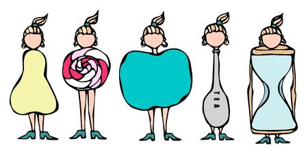 Pear, Lollipop, Apple, Spoon, Hourglass Women Body Type Figure Shape Sketch. Hand Drawn Vector Illustration. Caricature. Savoyar Doodle Style  イラスト・ベクター素材