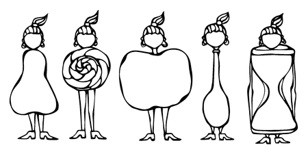 Pear, Lollipop, Apple, Spoon, Hourglass Women Body Type Figure Shape Sketch. Hand Drawn Vector Illustration.