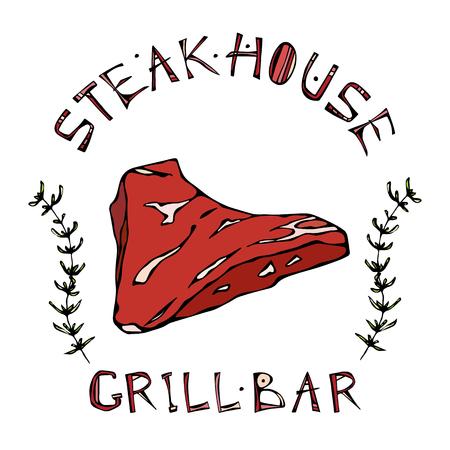 Steak House or Grill Bar Logo vector illustration