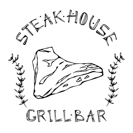 Steak House or Grill Bar Logo. Tri-Tip Steak Beef Cut with Lettering in s Thyme Herb Frame. Meat Logo for Butcher Shop, Menu. Hand Drawn Illustration. Savoyar Doodle Style