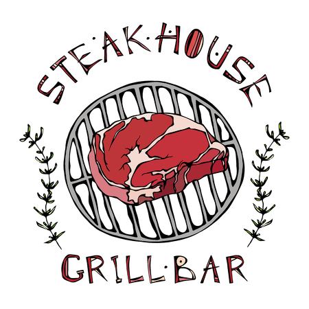 Steak House or Grill Bar Logo. Rib Eye Steak on a Grill. Beef Cut with Lettering in   Thyme Herb Frame.  Hand Drawn Vector illustration.
