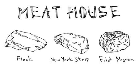 Most Popular Steak Types Set. Beef Cuts. Top Meat Guide for Butcher Shop or Steak House Restaurant Menu. Hand Drawn Illustration. Savoyar Doodle Style. Flank, New York Strip, Filet Mignon