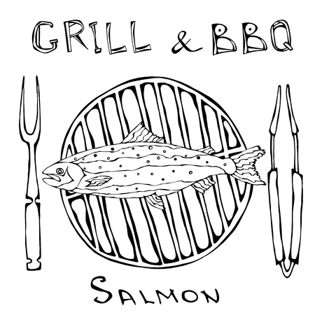 BBQ and Grill Logo. Salmon on a Barbecue Grill. With Fork and Tongs. Seafood Logo. Sea Restaurant Menu. Hand Drawn Illustration. Savoyar Doodle Style Ilustracja