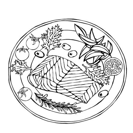 Lachsfilet auf einem Teller mit Kartoffelecken, Tomaten und Kräutern. Gebratener Fisch geschnitten. Meeresfrüchte-Logo. Sea Restaurant Menu. Festliches Abendessen. Hand gezeichnete Illustration. Savoyer Gekritzelart Logo