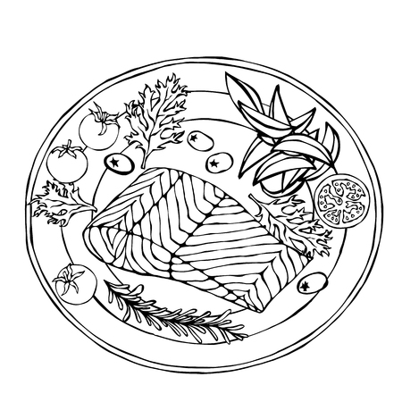 Salmon Filet on a Plate with Potato Wedges, Tomatoes and Herbs. Roasted Fish Cut. Seafood Logo. Sea Restaurant Menu. Festive Dinner. Hand Drawn Illustration. Savoyar Doodle Style