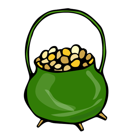 Green Pot with Gold. Saint Patricks Day Ireland Vector Illustration Hand Drawn. Savoyar Style Doodle