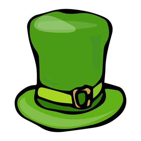 Green Leprechaun Hat. Saint Patricks Day Ireland Vector Illustration Hand Drawn. Savoyar Style Doodle