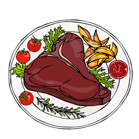 Grilled or Fried Porterhouse Steak on a Plate with Potato Wedges, Tomatoes and Herbs. Steak Dinner. Ready Meal. Steak House Meat Restaurant Menu Logo. Hand Drawn Illustration. Savoyar Doodle Style.