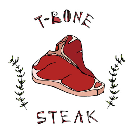 T-bone Steak Beef Cut with Lettering in s Thyme Herb Frame. Meat Guide for Butcher Shop or Steak House Restaurant Menu Logo. 일러스트