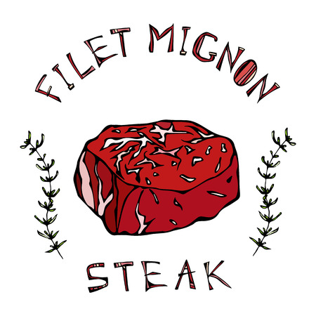 Filet-Mignon steak beef cut with lettering in thyme herb frame. Meat guide for butcher shop or steak house restaurant menu icon. Hand drawn illustration. Savoyar doodle style.