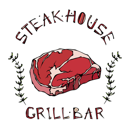 Steak House or Grill Bar Logo. Rib Eye Steak Beef Cut with Lettering in s Thyme Herb Frame. Meat Logo for Butcher Shop, Menu. Hand Drawn Illustration. Savoyar Doodle Style.