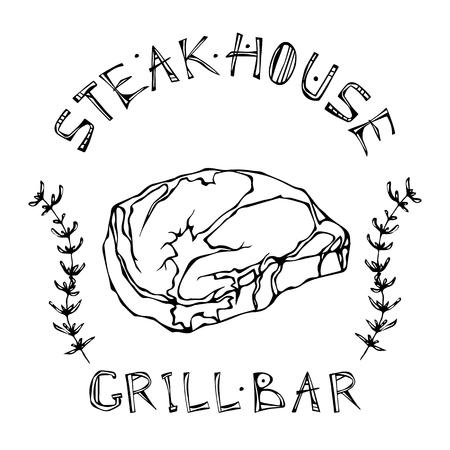 Steak House or Grill Bar Logo. Rib Eye Steak Beef Cut with Lettering in   Thyme Herb Frame. Meat Logo for Butcher Shop, Menu. Hand Drawn Illustration. Savoyar Doodle Style