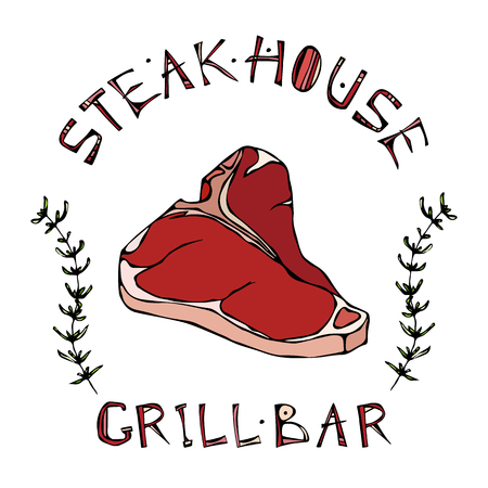 Steak House or Grill Bar Logo. T-Bone Steak Beef Cut with Lettering in s Thyme Herb Frame. Meat Logo for Butcher Shop, Menu. Hand Drawn Illustration. Savoyar Doodle Style.