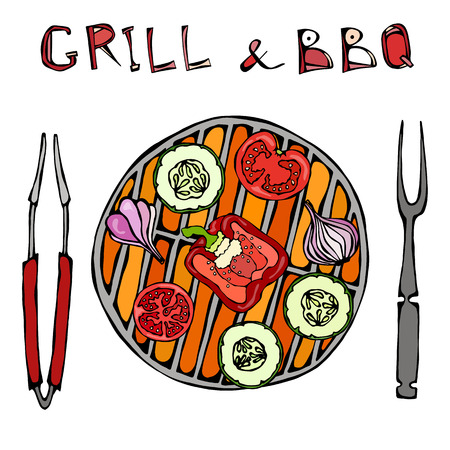 Illustration of vegetables on a grill with tongs and a fork