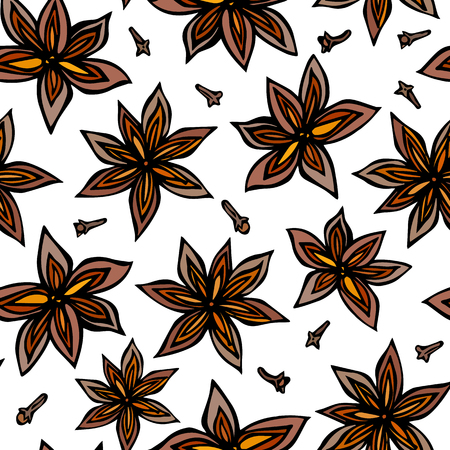 Illustration of anise star seed and cloves seamless pattern on a white background