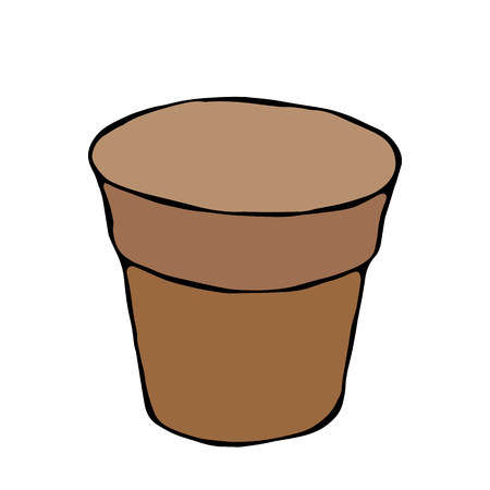 Empty Flower Seeding Pot. Flowerpot for Sprouting Seeds. Growing Sprouts Background. Gardening Hobby Hand Drawn Illustration. Savoyar Doodle Style Stock Vector - 97499848